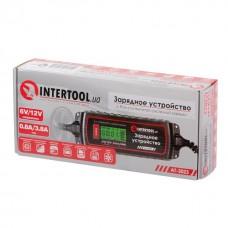 Зарядний пристрій 6/12В, 0.8/3.8А, 230В, зимовий режим заряду, дисплей, ємність акумуляторної батареї 1.2-120 а/ч AT-3023 Intertool
