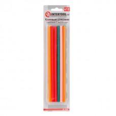 Комплект клейових стержнів кольорових 7,4 мм * 200 мм, 12 шт. RT-1032 Intertool