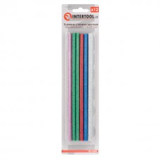 Комплект клейових стержнів кольорових перламутрових 7,4 мм * 200 мм, 12 шт. RT-1034 Intertool