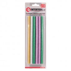 Комплект клейових стержнів кольорових перламутрових 11,2 мм * 200 мм, 12 шт. RT-1035 Intertool
